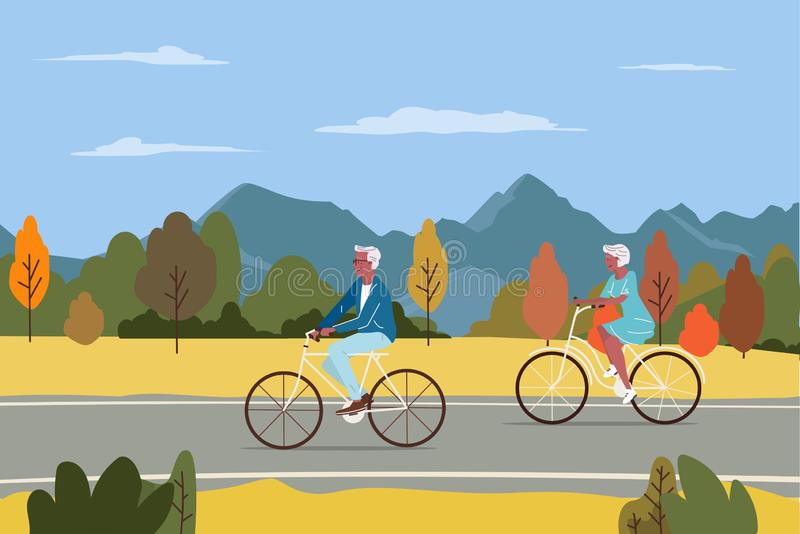 Healthy active lifestyle retiree grandparents. Elderly senior people characters cycling together in the city autumn park royalty free illustration