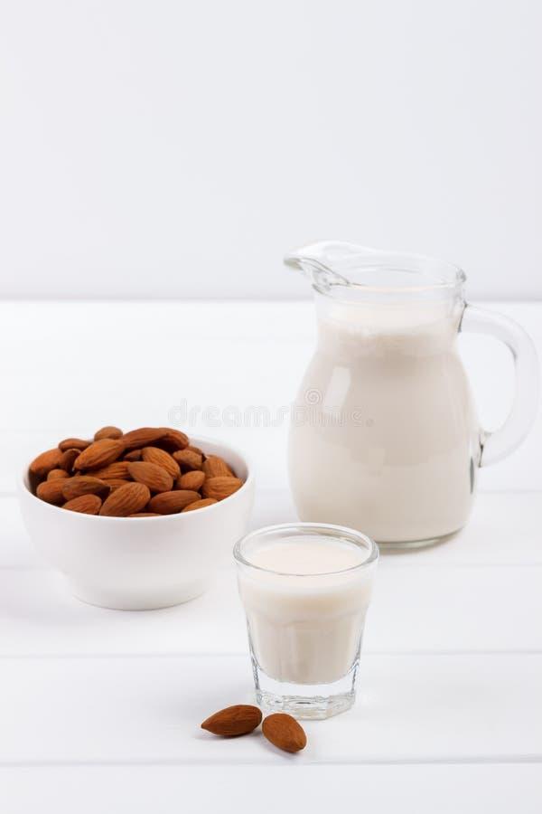 Healthy almond milk stock photos