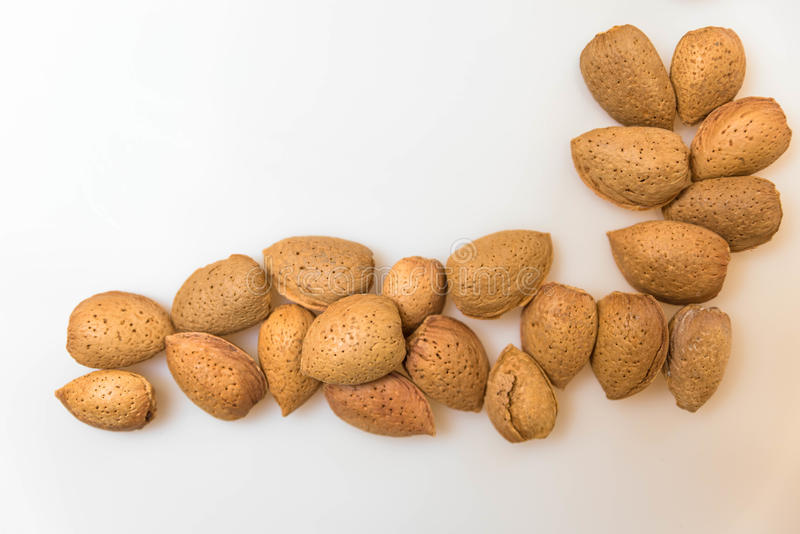 Healthy Almonds. A Few Healthy Almond drupes royalty free stock image
