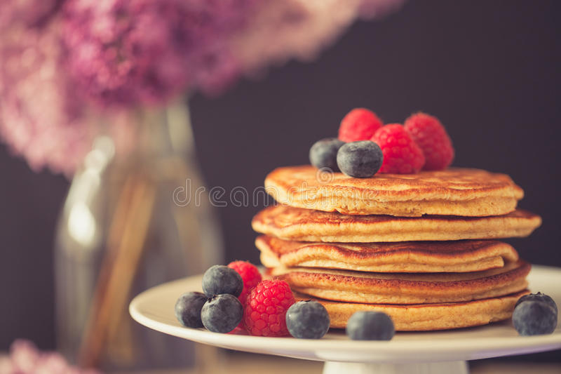 Healthy american pancakes royalty free stock images