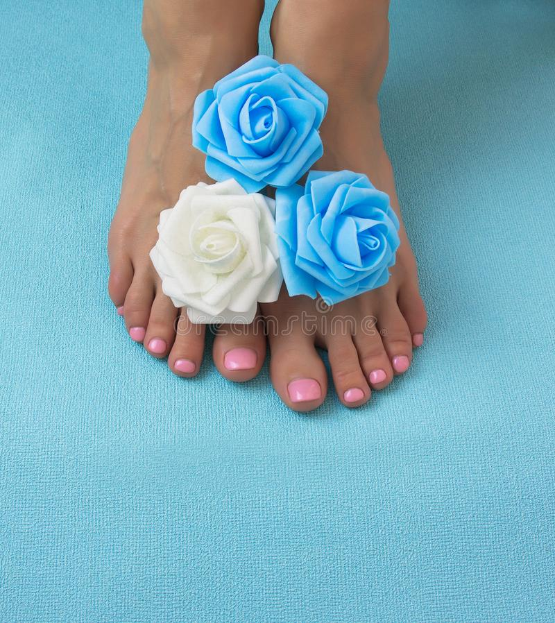 Free Healthy And Elegant Well-groomed Female Feet With The Flowers Stock Images - 136167874