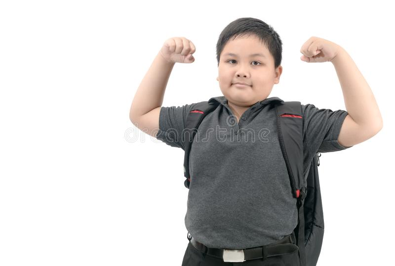 Healthy asian student with school bag isolated stock images