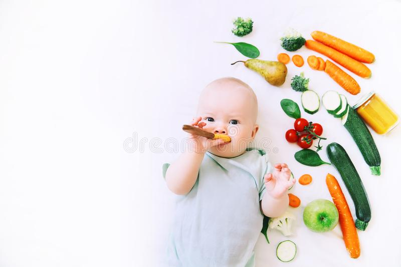 Healthy baby child nutrition, food background, top view. Healthy child nutrition, food background, top view. Baby 8 months old surrounded with different fresh stock photo