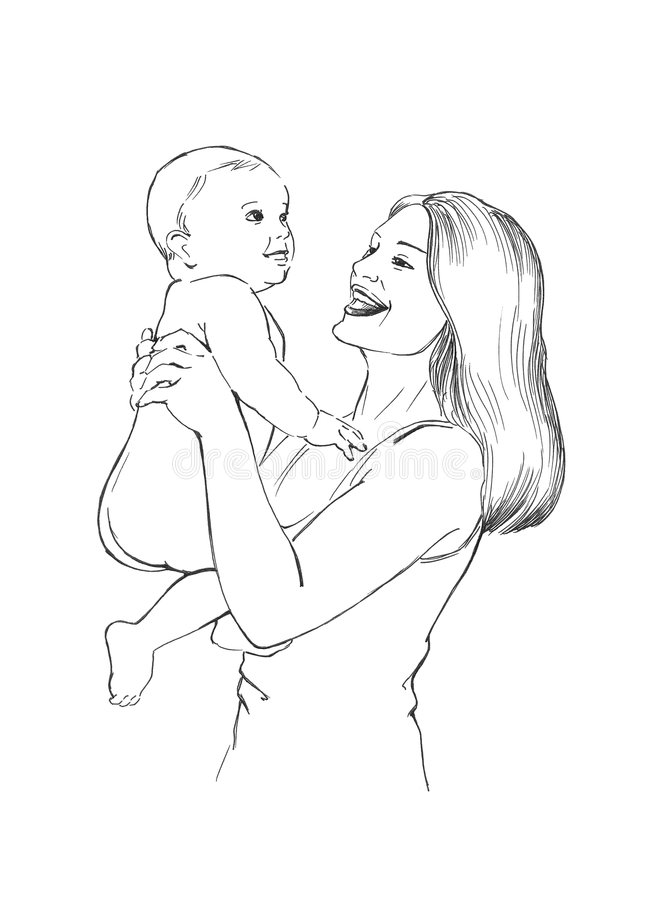 Healthy baby and happy mama royalty free illustration