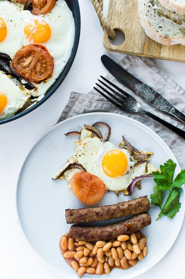 Healthy balanced Breakfast on a grey plate on a white background. royalty free stock image
