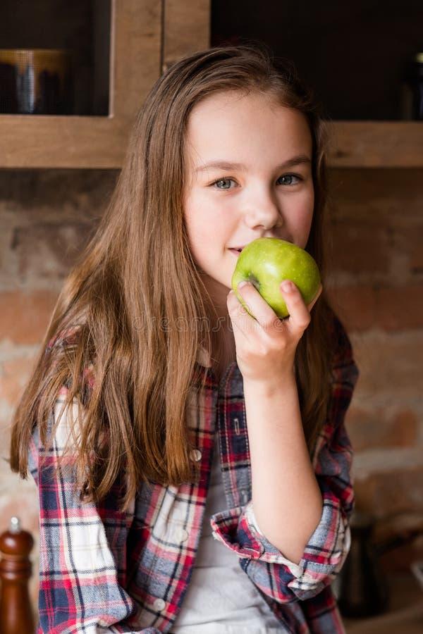 Healthy balanced food child organic apple fiber royalty free stock photography
