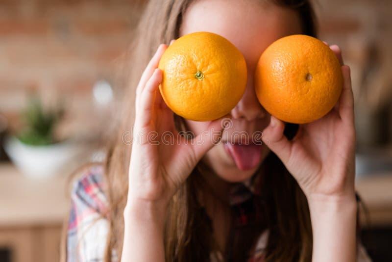Healthy balanced food child organic orange vitamin c royalty free stock photos
