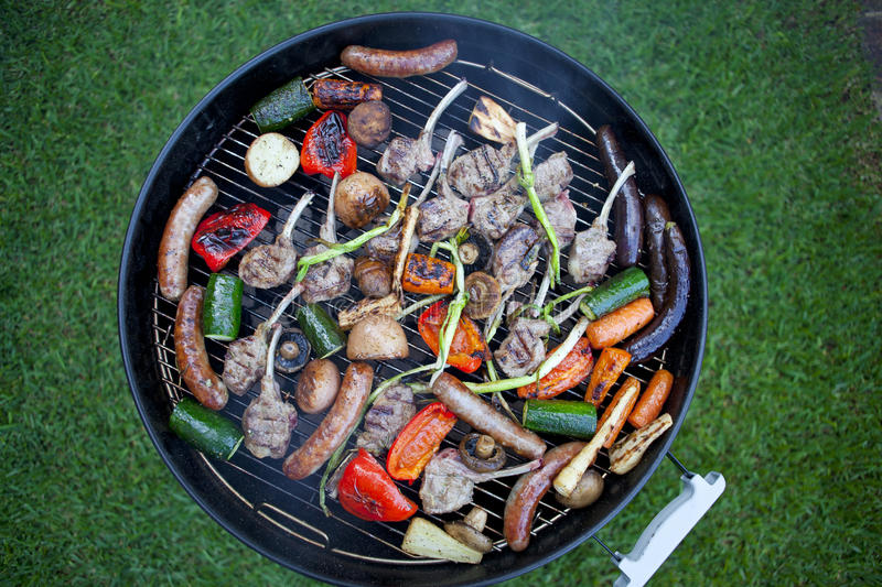 Meat Lamb Sausages Barbecue Grill Food BBQ stock image