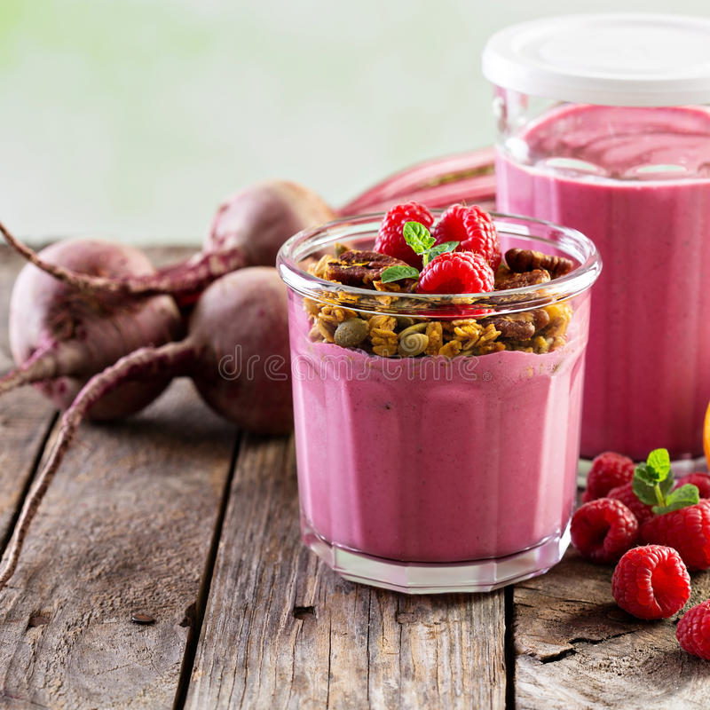 Healthy beetroot and raspberry smoothie royalty free stock photos
