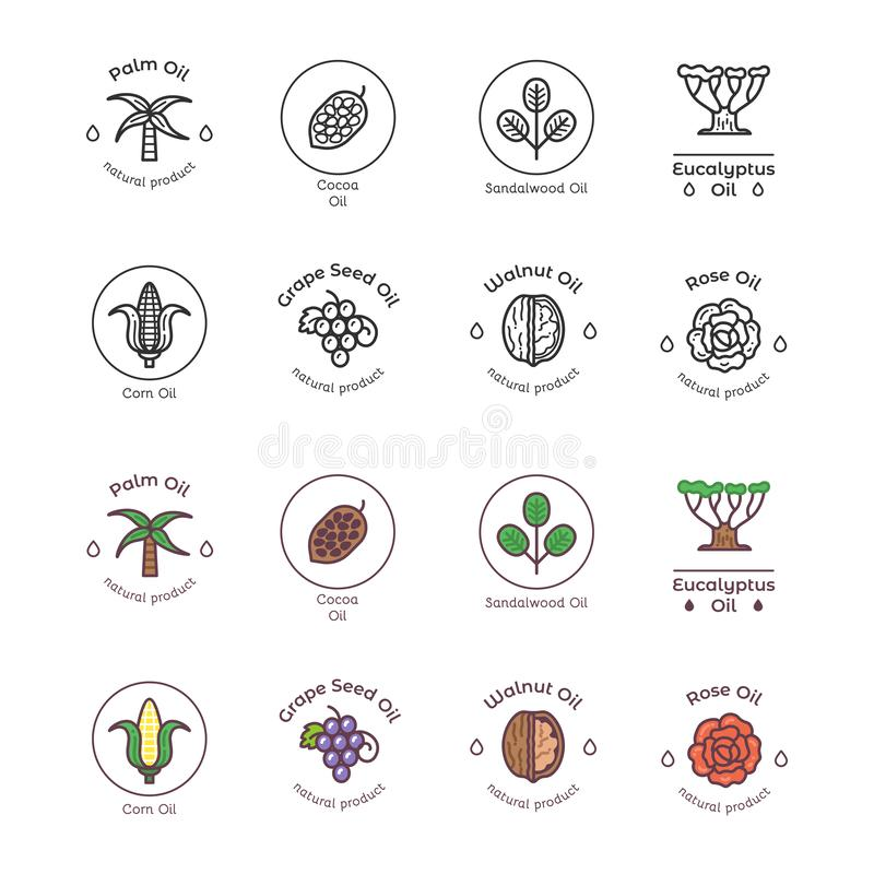 Healthy bio cosmetics oil linear logos. Organic cosmetics ingredients icons set stock illustration