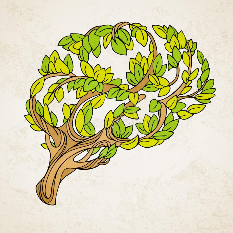 Healthy brain concept illustration. Tree and leaves in form of brain. Hand draw helthy conceptual brain illustration vector illustration