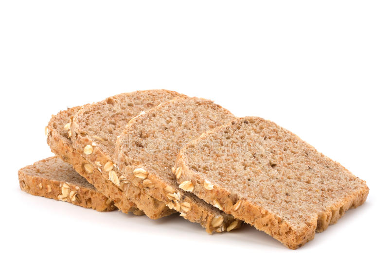 Healthy bran bread slices with rolled oats royalty free stock photography