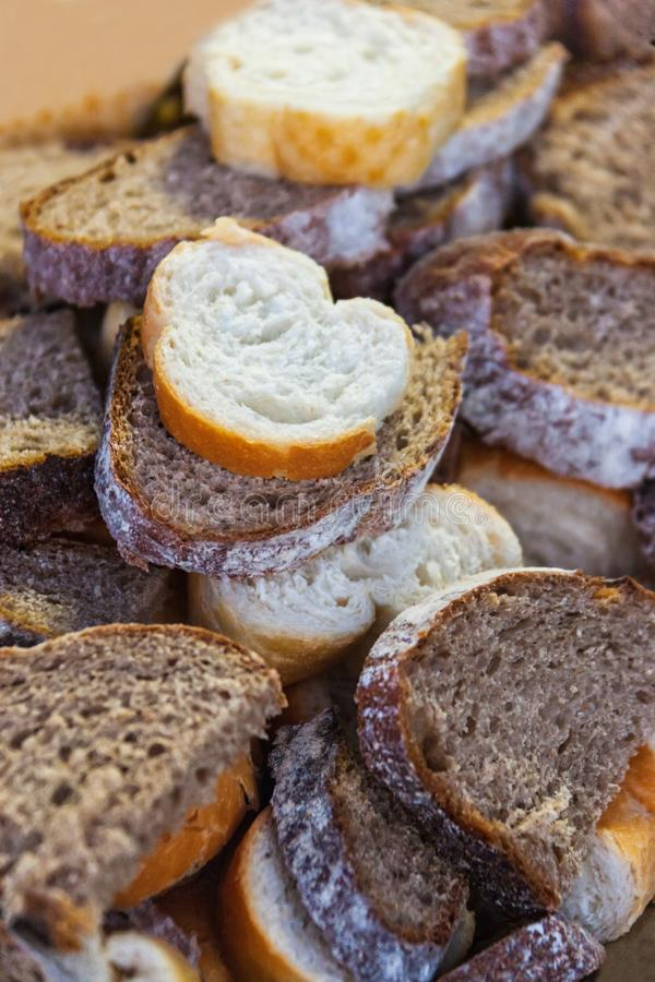 Healthy bread slices. Many bread slices of various made, graham, whole-wheat, white royalty free stock image