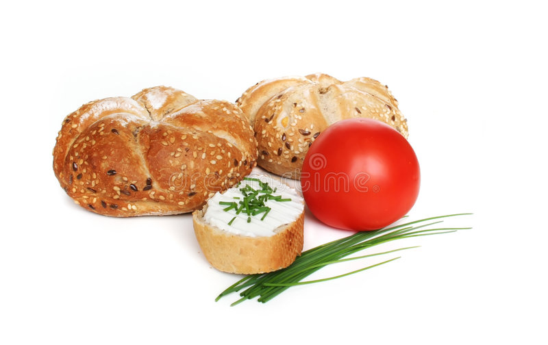 Healthy breakfast. Bread, cheese and tomato stock photos