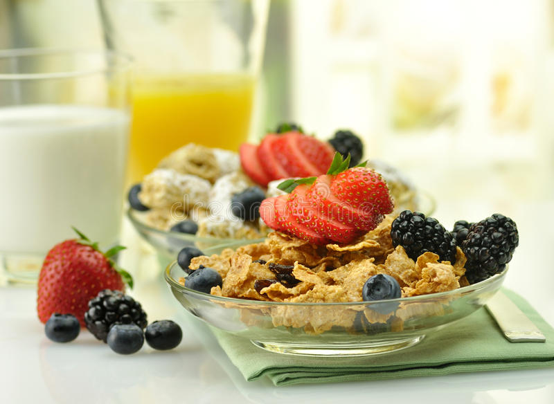 Healthy breakfast. With cereal and fruits stock images