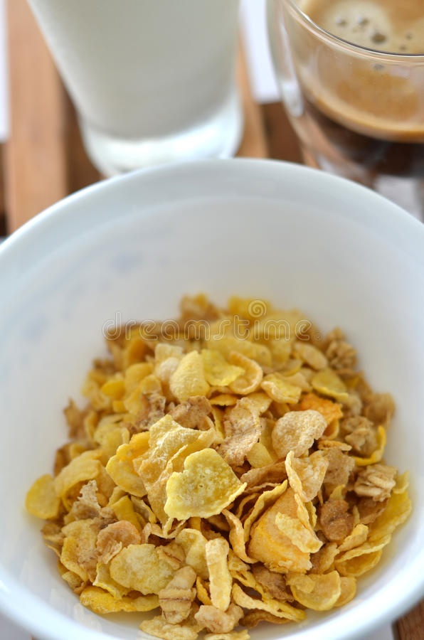 Healthy Breakfast. Consisting of cereals, milk and coffee royalty free stock photography
