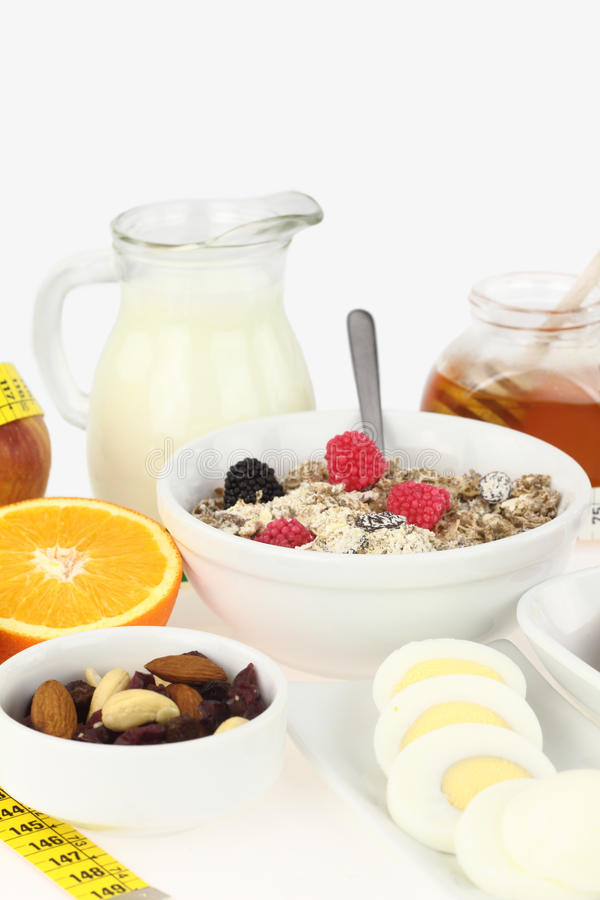 Healthy breakfast. With milk, honey, nuts and fryits stock photos