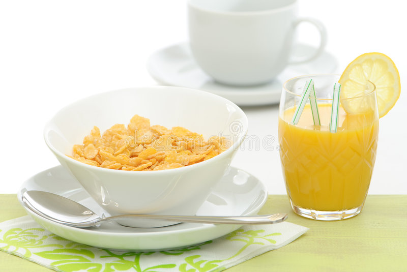 Healthy Breakfast. Meal with cereal and orange juice royalty free stock photo
