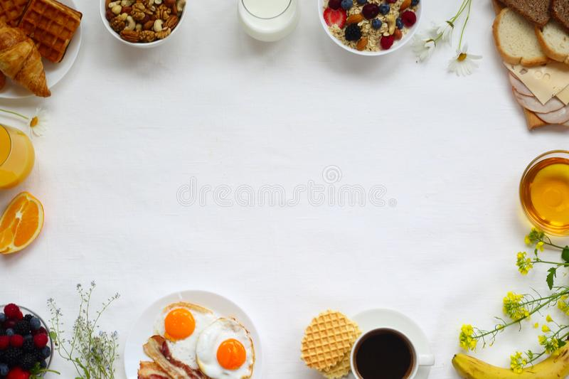 Healthy breakfast background royalty free stock image