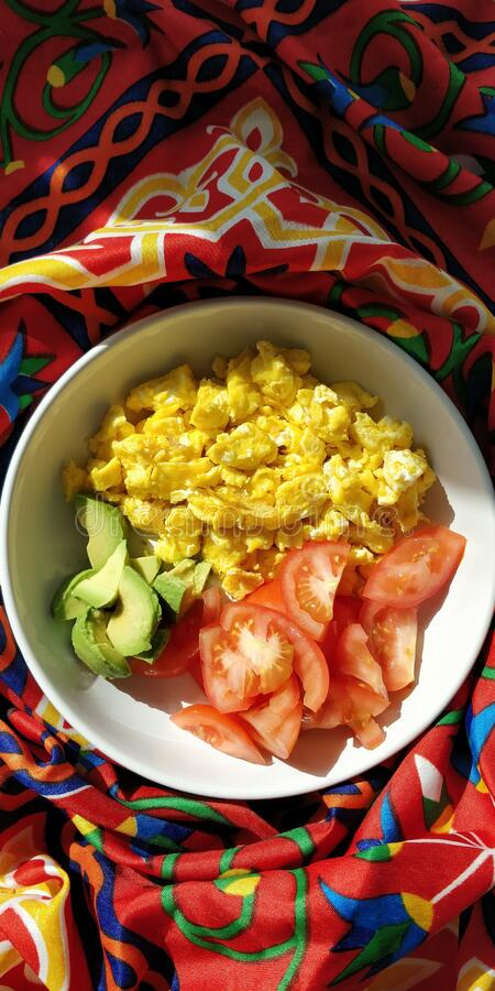 Breakfast Bowl With Avocado, Tomato And Eggs  stock images