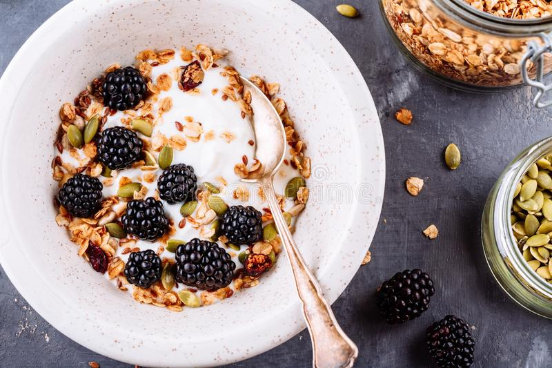 Healthy breakfast bowl of yogurt with granola, flax seeds, pumpkin seeds and fresh blackberries royalty free stock images