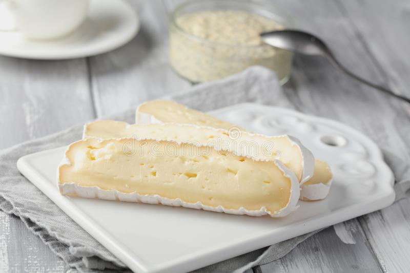 Healthy breakfast with brie cheese and pudding royalty free stock photos
