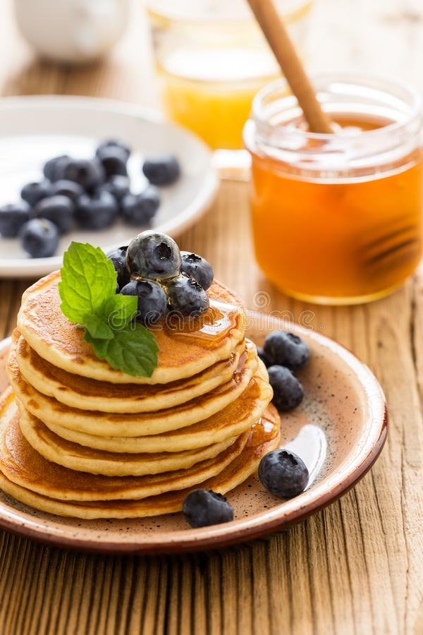 Morning meal, homemade pancakes, fresh summer berries royalty free stock photo