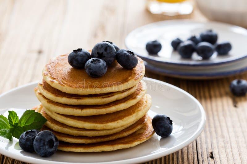 Morning meal, homemade pancakes, fresh summer berries royalty free stock photos