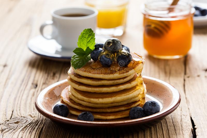 Morning meal, homemade pancakes, fresh summer berries stock photo