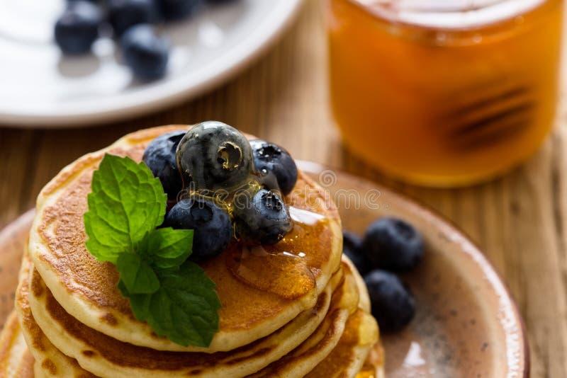 Morning meal, homemade pancakes, fresh summer berries royalty free stock photo