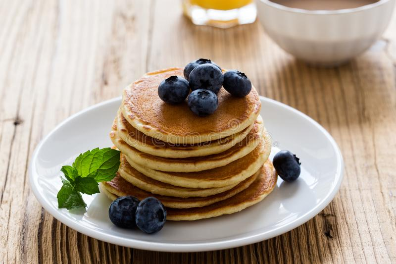 Morning meal, homemade pancakes, fresh summer berries stock images