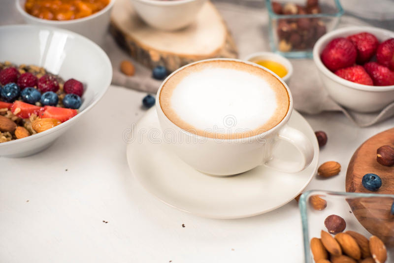 healthy breakfast with coffee in sunny morning stock image