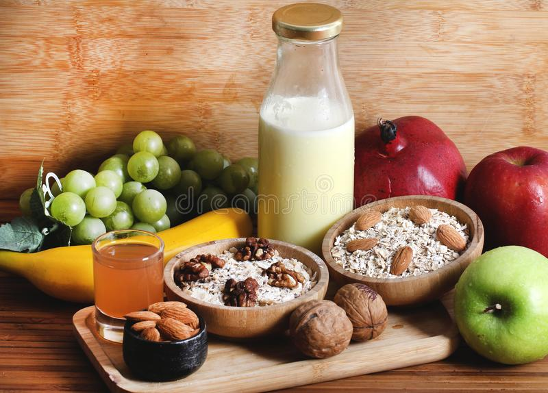 Healthy breakfast. Concept shot of healthy breakfast for fitness royalty free stock images