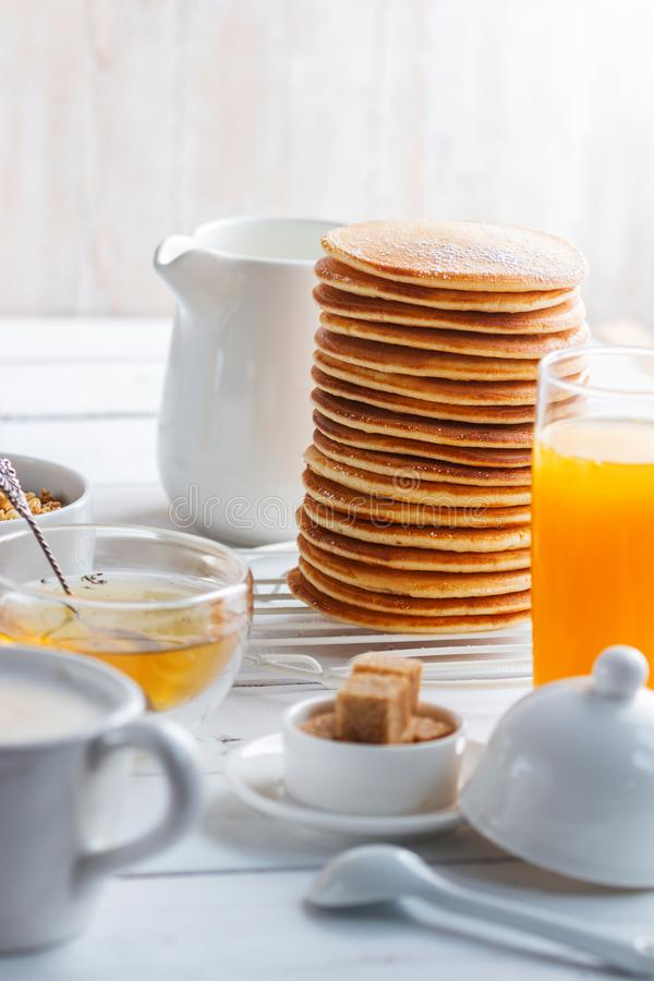 Healthy breakfast eating concept, various morning food royalty free stock photos