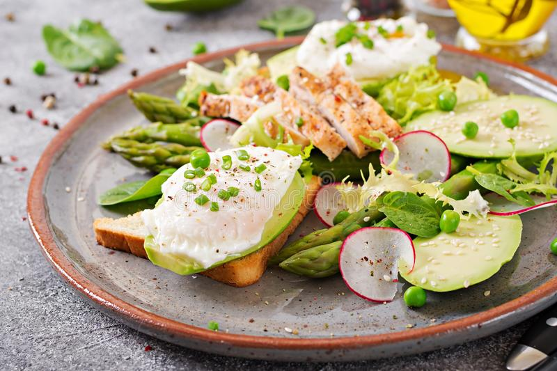 Eggs poached on toast with avocado, asparagus and chicken fillet on grill. royalty free stock photos