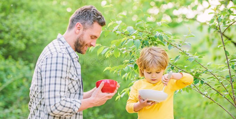 Healthy breakfast. Father son eat food. Little boy and dad eat. Nutrition kids and adults. Tasty porridge. Organic. Nutrition. Healthy nutrition concept royalty free stock image