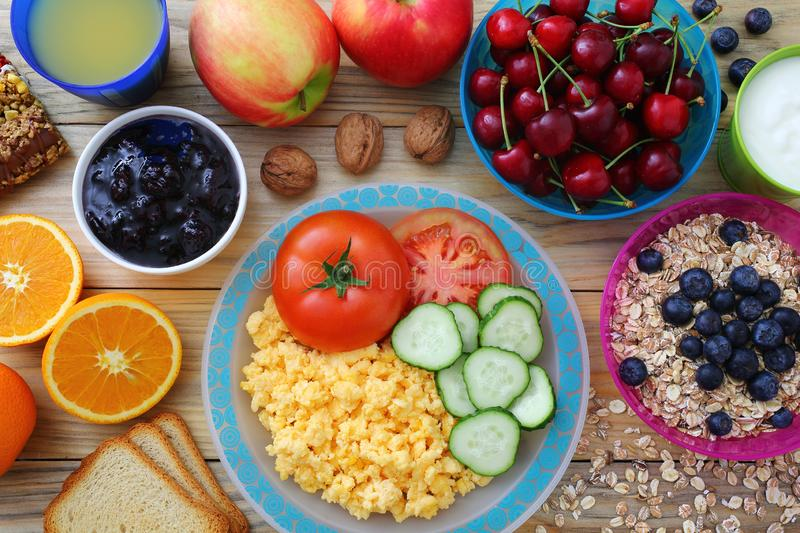 Healthy Breakfast Kitchen Table Background. Delicious Healthy Breakfast on Kitchen Table Background royalty free stock photography
