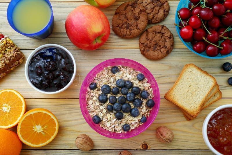Healthy Breakfast Kitchen Table Background. Delicious Healthy Breakfast on Kitchen Table Background stock photos