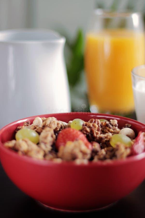 Healthy breakfast with muesli stock image