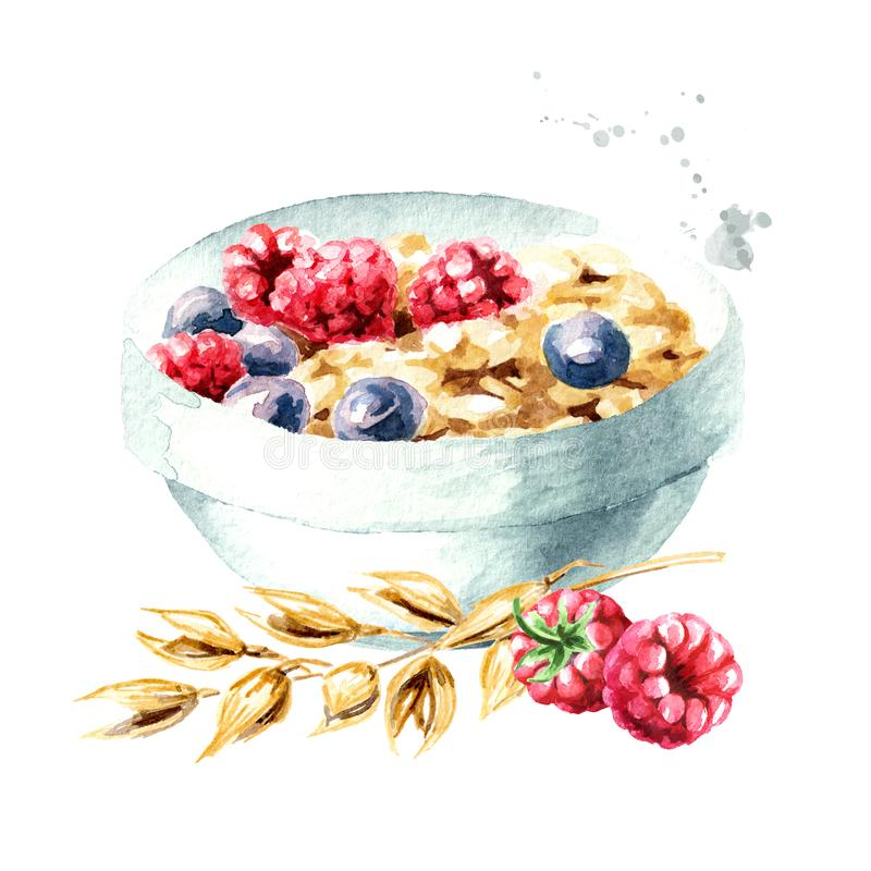 Healthy breakfast. Oat flakes muesli with raspberries and blueberries. Watercolor hand drawn illustration  isolated on white. Background stock illustration