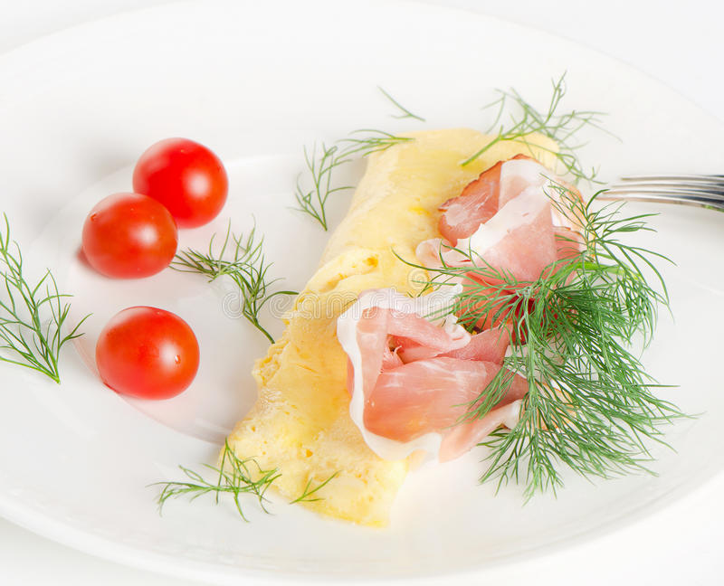A healthy breakfast.Omelett. royalty free stock photo