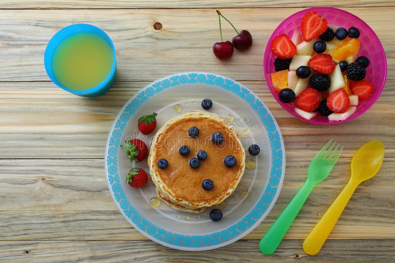 Healthy breakfast with pancake stock images