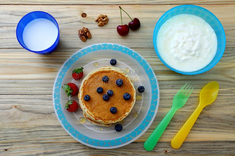 Healthy breakfast with pancake stock photo