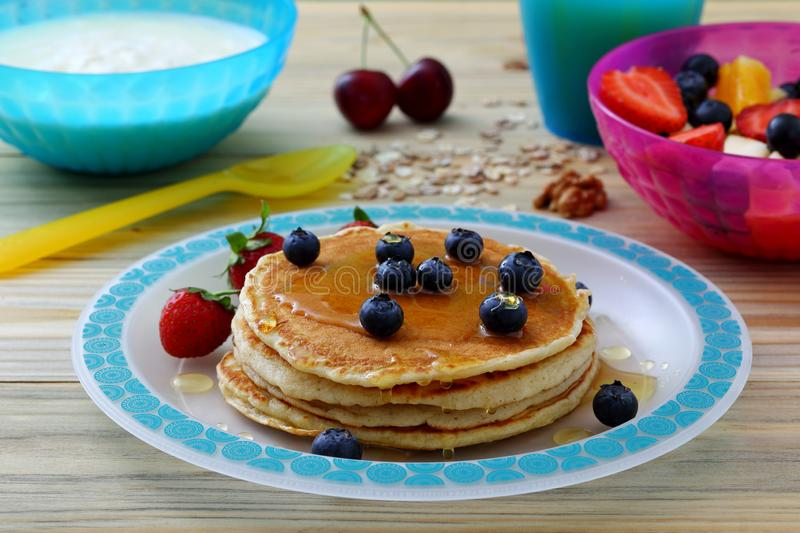 Healthy breakfast with pancake royalty free stock images