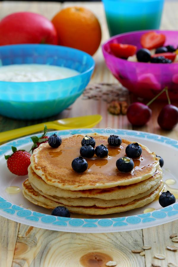 Healthy breakfast with pancake royalty free stock photos