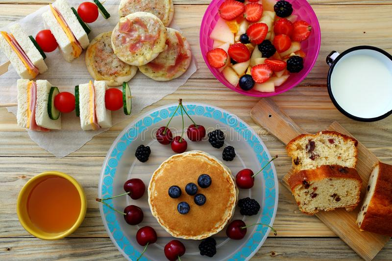 Healthy Breakfast Pancake Sandwich Club. Background stock images
