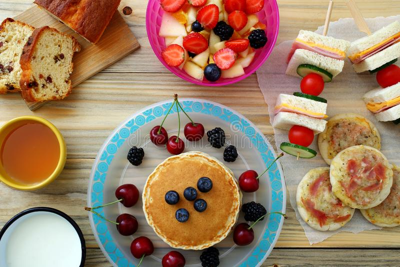 Healthy Breakfast Pancake Sandwich Club stock photo