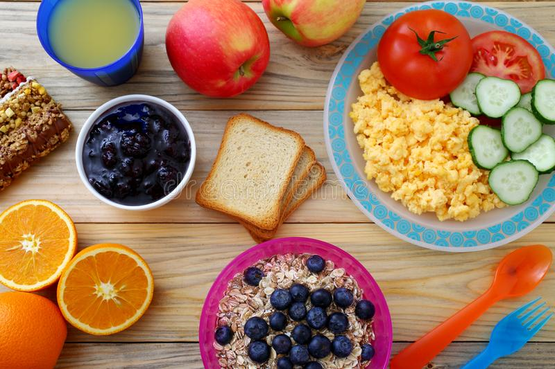 Healthy breakfast with pancake and sandwich club. Background royalty free stock image