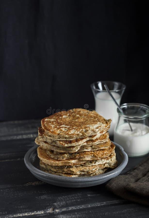 Healthy breakfast or snack - whole grain pumpkin pancake stock photography