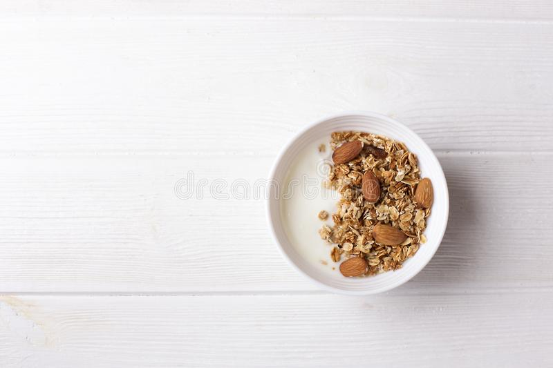 Coloring Pages For Yogurt : Bowl of whole grain granola with yogurt on white background top